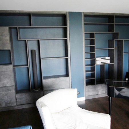 bibliotheque sur mesure hom in. Black Bedroom Furniture Sets. Home Design Ideas